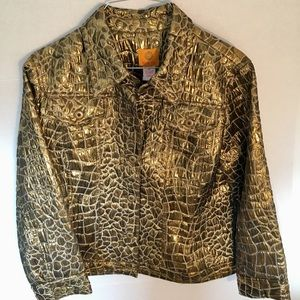 Ruby Rd Gold Metallic-Size 10 Jacket-EUC